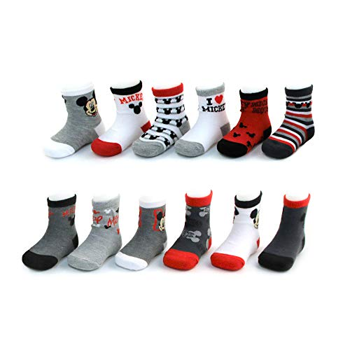 Mickey Black Socks - Disney Baby Boys' Toddler Mickey & Minnie Mouse Assorted Color Pair Socks Set, Grey, Black, White Collection, 12-24 Months