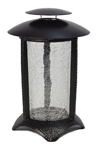 Paul Jansen Grablaterne rund aus Aluminium mit Echtglaszylinder, schwarz