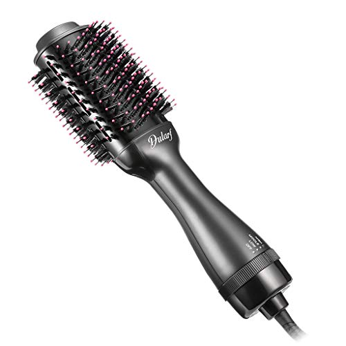 Hot Air Brush, Dularf One-Step Hair Dryer Styler Hair Volumizer and Straightener Curling Iron Brush Fast Hair Styling for All Hair Type with 2 Heat 2 Speed