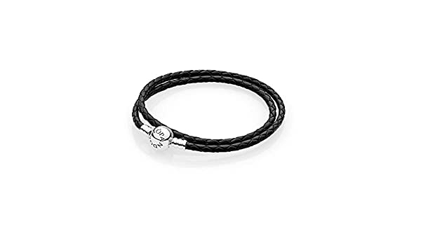f41d22f75 Amazon.com: PANDORA Black Braided Double-Leather Bracelet, 41 cm/16.1 in:  Jewelry
