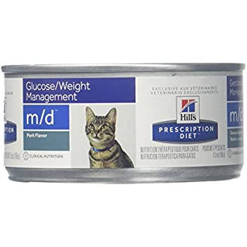 Hills Prescription Diet m/d Feline Weight Loss - Low Carbohydrate - Glucose Management Canned Cat Food, 5.5-oz, case of 24
