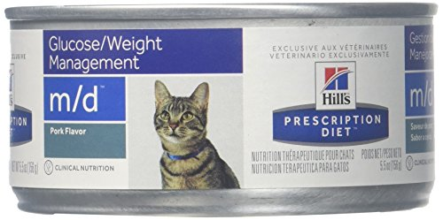 Hill's Prescription Diet m/d Feline Weight Loss - Low Carbohydrate - Glucose Management Canned Cat Food, 5.5-oz, case of 24