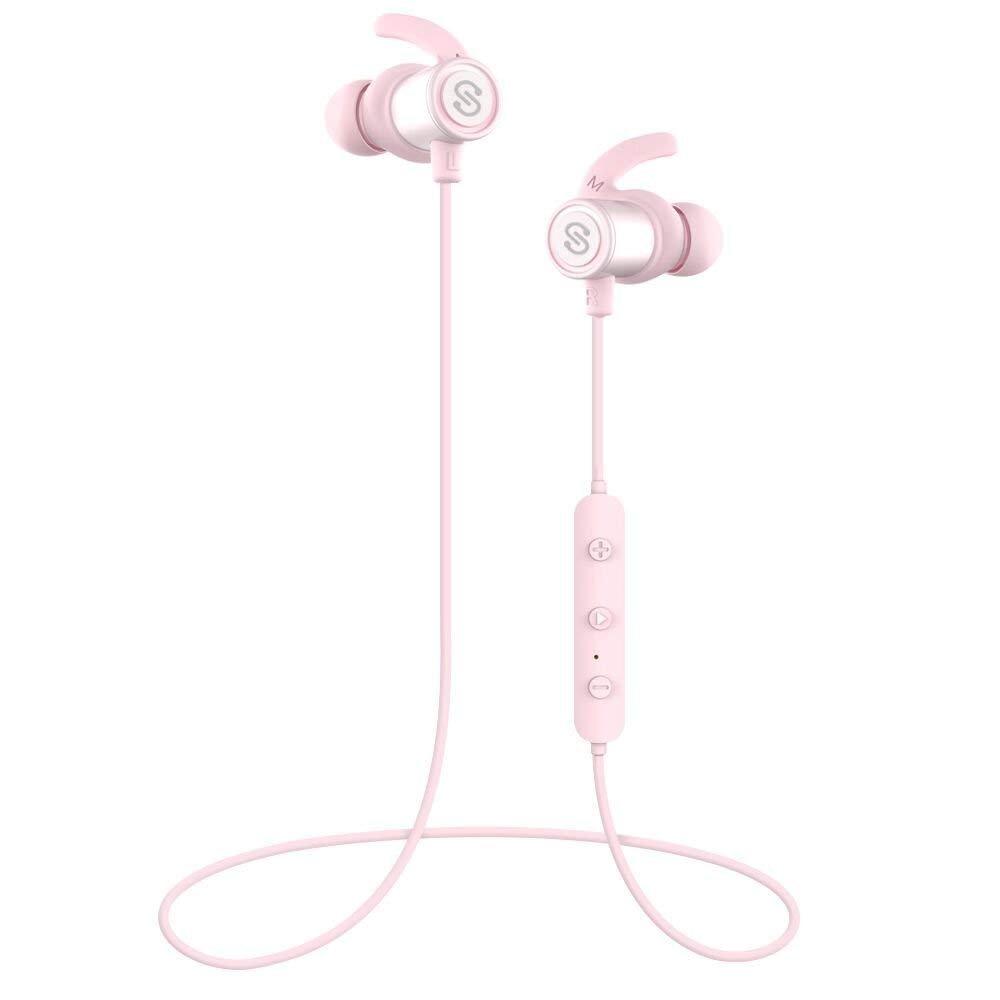 SoundPEATS Bluetooth Earphones Super Bass Wireless Headphones Magnetic Earbuds In-Ear Sports Sweatproof IPX6 Earphones with Mic (High Fidelity Sound, Bluetooth 4.1, aptx, 8 Hours Play Time)- Pink