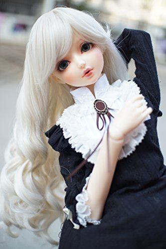 Heat Resistant Synthetic Light Blonde Long Deep Wave Curly Hair For 1/4 bjd Doll Wig