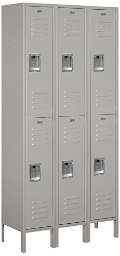 Salsbury Industries Assembled 2-Tier Standard Metal Locker with Three Wide Storage Units, 6-Feet High by 12-Inch Deep, ()