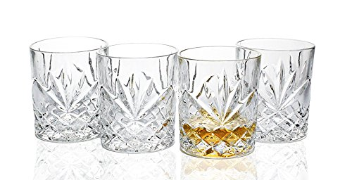 Lead-Free Crystal Double Old-Fashioned Highball Water Glasses, SET OF 4, Heavy Base Bar Ware Glasses Set, 8 Ounces Drinking Glasses.