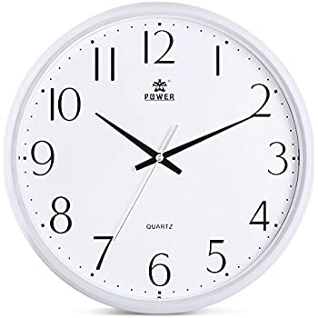 Attractive Power 12 Inch Round Non Ticking Silent Wall Clock Decorative, Battery  Operated Quartz