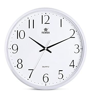 Perfect Power 12 Inch Round Non Ticking Silent Wall Clock Decorative, Battery  Operated Quartz