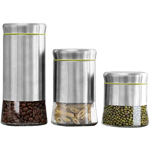 3 Stainless Steel Canisters - MyGift Stainless Steel & Glass Food Storage Canisters, 3-Piece Set