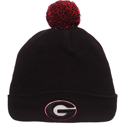 Zephyr NCAA Georgia Bulldogs Pom Knit Beanie, Adjustable, Team Color