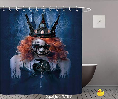 PUTIEN Fancy Shower Curtain [ Queen,Queen of Death Scary Body Art Halloween Evil Face Bizarre Make Up Zombie,Navy Blue Orange Black ] Polyester Bath Decorative Curtain Ideas with Hooks,72