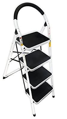 LavoHome 330lbs Upper Reach Reinforced Metal Folding Step-Ladder Stool Household Kitchen Stool Folds for Easy Storage