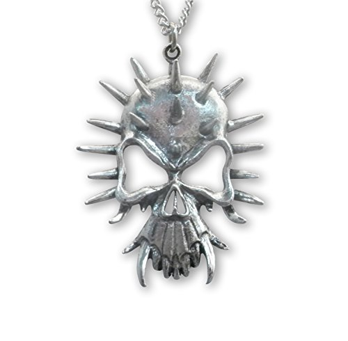 Real Metal Gothic Skull with Spikes and Fangs Pewter Pendant Necklace