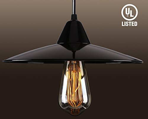 Island Light Bistro (TORCHSTAR 11-inch Industrial Pendant Lighting Vintage Ceiling Lamp For Kitchen Island Dining Room Bar Club (LED Bulb Included) Classic Black)