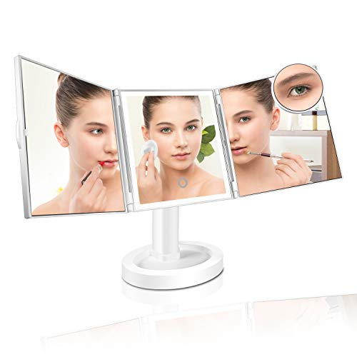 GECOUN Makeup Vanity Mirror with 34 Led Lights, Lighted Mirror with a Round 10x Magnifying Mirror, Touch Screen Switch, 180 Adjustable Rotation, Dual Power Supply, HD Trifold Mirror, White