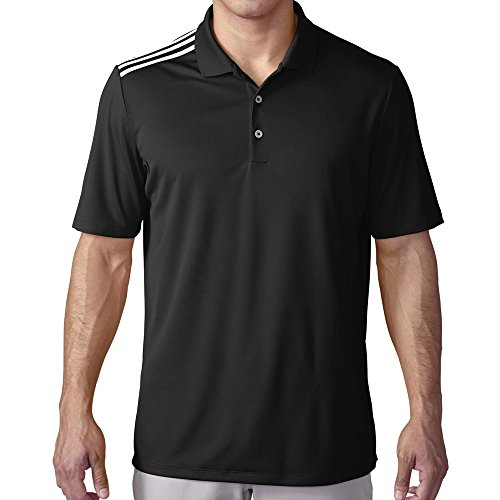 adidas Golf Men's Climacool 3-Stripes Polo Shirt, Black/White, Large ()
