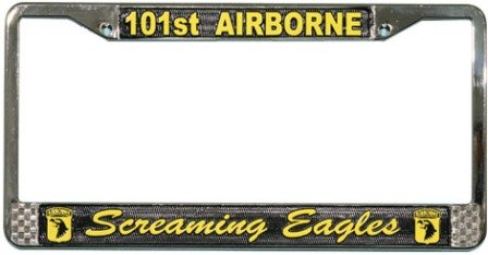 Airborne Eagle - 101st Airborne, Screaming Eagles License Plate Frame (Chrome Metal)