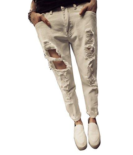Alta Ginocchio Fit Donna Boyfriend Strappati Leggings Jeans Vita Pants Bianca Pantaloni Slim qHYp4E