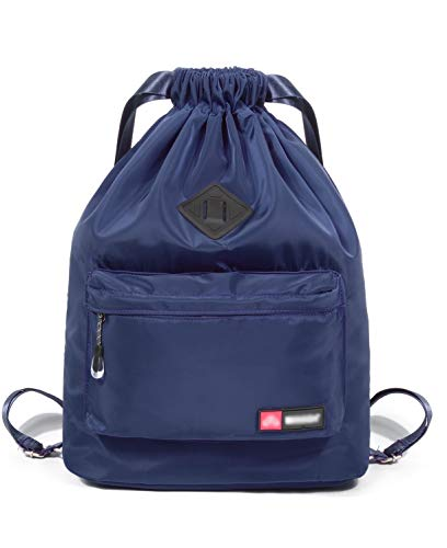 SportsNew Drawstring Sports Backpack - Gym Sack - Lightweight Sackpack Bag with Shoes Compartment for Men Women, Navy
