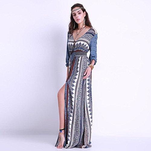 16ac8977c8d2 Kleid Transer® Damen Urlaub Strand Knöchel-Länge Kleider Lange Ärmel Retro  Abendkleid Outdoor Ein ...