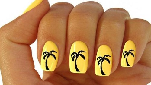 x20 NAIL ART WRAP WATER TRANSFER STICKER DECALS BLACK PALM TREES ...