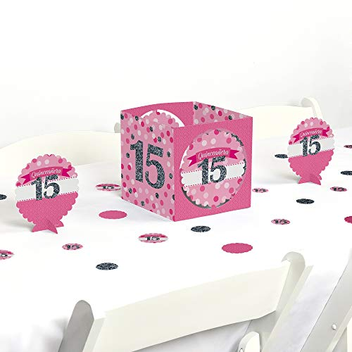 Big Dot of Happiness Quinceanera Pink - Sweet 15 - Birthday Party Centerpiece & Table Decoration -