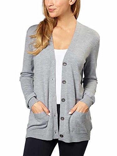 Kirkland Signature Women 100% Extra Fine Merino Wool Cardigan (Light Grey, XX-Large) by Kirkland Signature (Image #2)