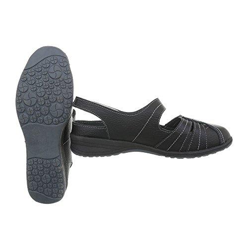 Plataforma para Schwarz de tacon mujer Zapatos 5011 Design Ital Zapatos Cuñas CawqHwS