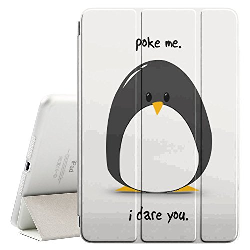STPlus Poke Me Cute Penguin Funny Smart Cover with Back Case + Auto Sleep/Wake Funtion + Stand for Apple iPad Mini 1/2 / 3
