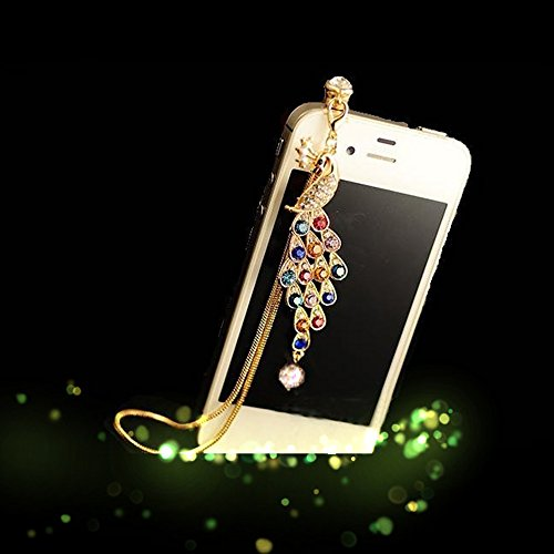 Spritech(TM) Bling Crystal Pendant Design Peacock Pattern Mini Headphone Accessory Dust Proof Plug-earphone For iPhone/touch/ipad 3.5mm Ear Jack series and more ()