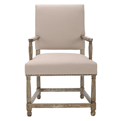 Safavieh Mercer Collection Stratton Linen Side Chair with Nail Head, Beige -  MCR4558A