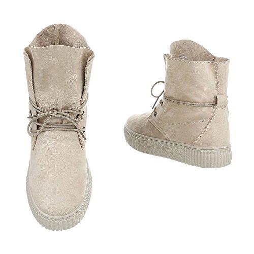 Schuhcity24 Damen Schuhe Freizeitschuhe Sneakers Beige