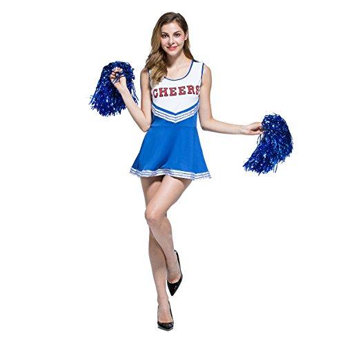 Blue Cheerleader Costume (Ladies Sexy Varsity High School Cheer Girl Cheerleading Uniform Halloween Fancy Dress Costume)