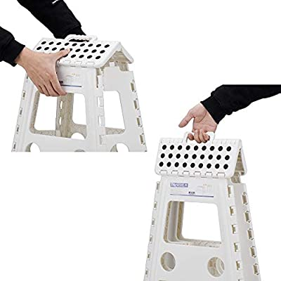 Acko White 18 Inches Non Slip Folding Step Stool for Kids and Adults with Handle: Kitchen & Dining