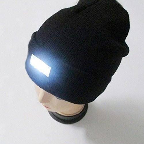 CAMTOA Mode Ultrahelle 5 LED beleuchtete Cap,Unisex warme Beanie Mütze Hut ,12000MCD Stirnlampe Headlamp Kappenlampe für Angeln,Jagd, Camping, Grillen, Jogging, Auto-Reparatur Schwarz
