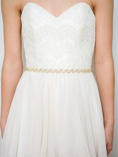 SWEETV Rhinestone Leaf Bridal Belt Wedding Belt Crystal Headband Bridesmaid Sash for Dress & Gown, Gold by SWEETV (Image #3)
