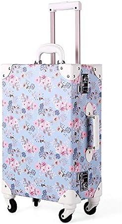 GJF - Maleta con Ruedas rígidas, diseño de Flores, ABS Ligero, TSA Customs Password Lock Suitcase, Business Vacation Travel Azul Lightblue XL