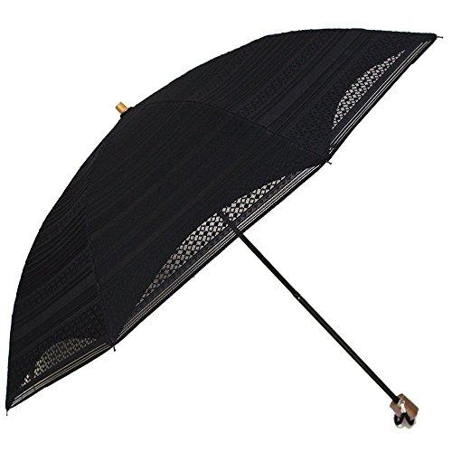 晴雨兼用折りたたみ日傘8本骨二重張り遮光(ic)(NO.11 ボーダー×ブラック)