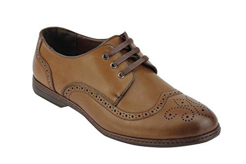 Nuevo para hombre funda de piel sintética estilo italiano Smart Casual cordones Formal Brogue Zapatos Reino Unido tamaño marrón