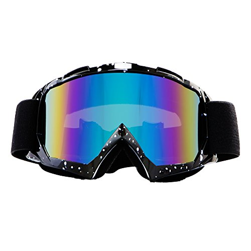 Motorcycle Goggles Dirt Bike Goggles, 4-FQ Motocross Goggles, Windproof Dustproof Scratch Resistant Ski Goggles Protective Safety Glasses, PU Resin(Color lens Marble Black frame)