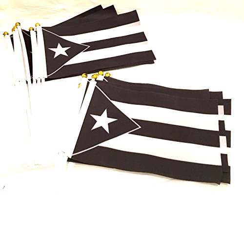 Black & white PUERTO RICO Mourning Flags, 10pc small,Puerto rican flag, wholesale,stock lot, Puerto rico day parade, PR flags