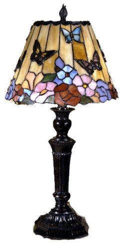 Bon Dale Tiffany TT100587 Butterfly And Peony Table Lamp, 12u0026quot; X 12u0026quot;  ...