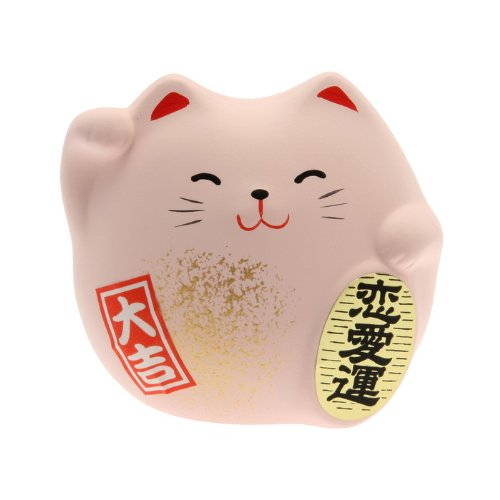 (Kotobuki Maneki Neko Charm Renai-un Collectible Figurine, Love, Pink)