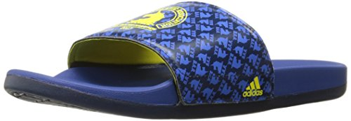 adidas Adilette CF+ Boston Slide Sandal, Blue/Yellow/Collegiate Navy, 18 M US
