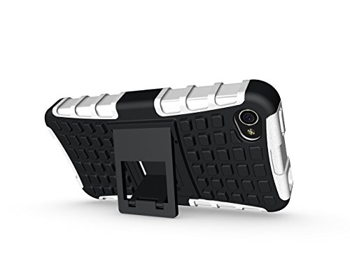 Voguecase® für Apple iPhone 4 4G 4S hülle, (Harte Rückseite) Hybrid Hülle Schutzhülle Case Cover (Kickstand/ Weiß) + Gratis Universal Eingabestift
