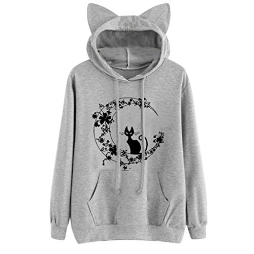 Sunhusing Women Kitten Flower Crescent Moon Print Drawstring Pocket Long Sleeve Hoodie Casual Sweatshirt Top Gray