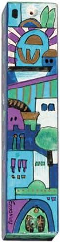 Large Wooden Mezuzah By Yair Emanuel//Jerusalem Blue