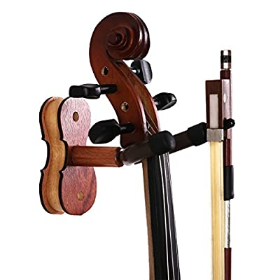 Violin Hanger with Bow Hanger - Hardwood Home & Studio Wall Mount Hanger for Violin/Viola from Sound harbor