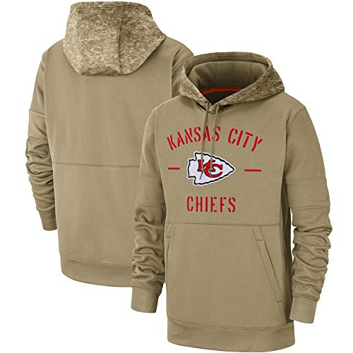 Dunbrooke Apparel Kansas City Chiefs Men's 2019 Salute to Service Sideline Therma Pullover Hoodie - Tan XXL (Kansas City Chiefs Salute To Service Gear)