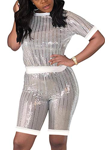 Womens Sexy Sequin Romper Jumpsuit 2 Piece Outfit Set Tracksuit Party Clubwear White Metallic